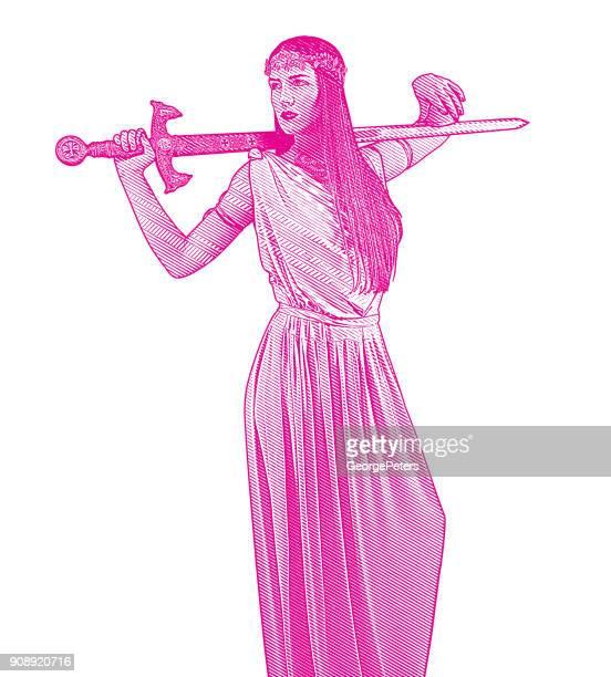 bildbanksillustrationer, clip art samt tecknat material och ikoner med själv säker feminist har svärd och grecian-stil klänning - grekisk gudinna