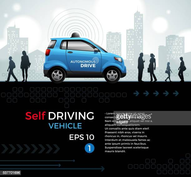 self driving car in the city - runaway vehicle stock illustrations, clip art, cartoons, & icons