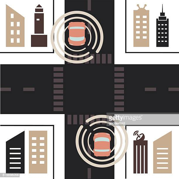 Self Driving Cars Approach City Intersection from Above Flat Design