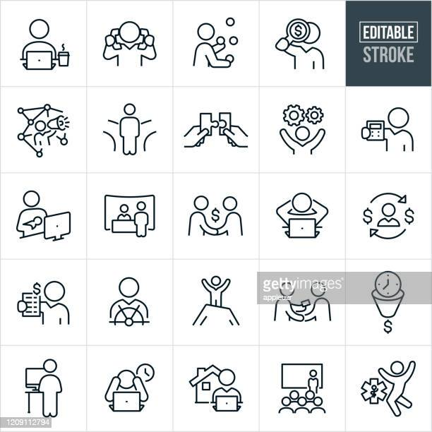 self employment thin line icons - editable stroke - exhibition stock illustrations