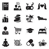 Self Help Icons. Black Flat Design. Vector Illustration.