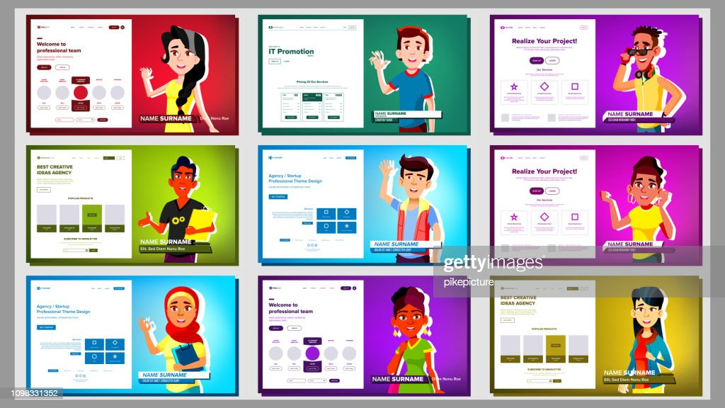 Self Presentation Banner Set Vector. Multiracial Person. Female, Male. Introduce Yourself Or Your Project, Business. Illustration