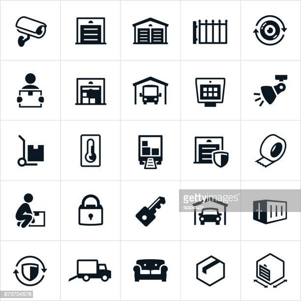 self storage icons - storage compartment stock illustrations