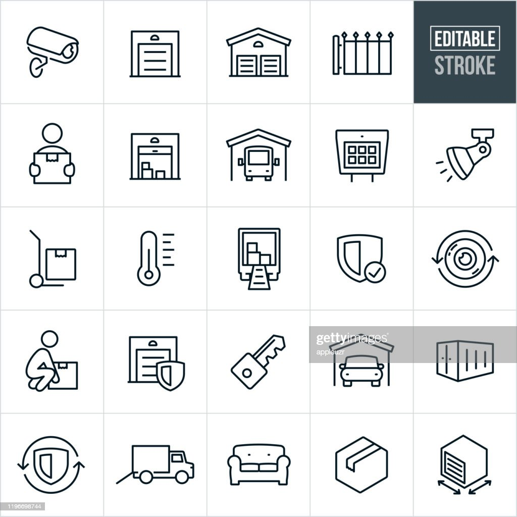Self Storage Thin Line Icons - Bearbeitbarer Strich : Stock-Illustration