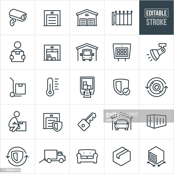 self storage thin line icons - editable stroke - storage compartment stock illustrations