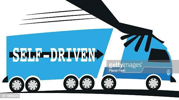 self-driven van - runaway vehicle stock illustrations, clip art, cartoons, & icons