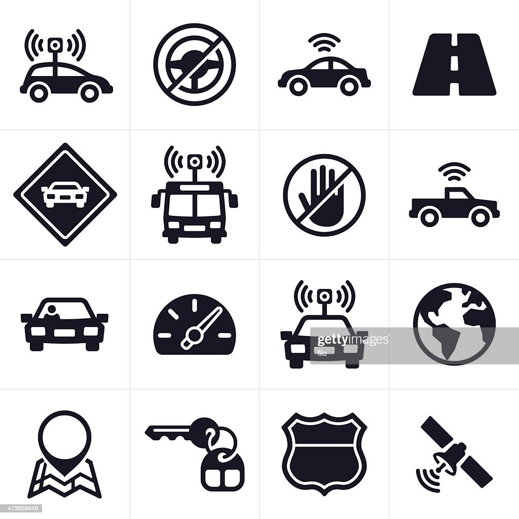 Self-driving and Driverless Car Icons and Symbols