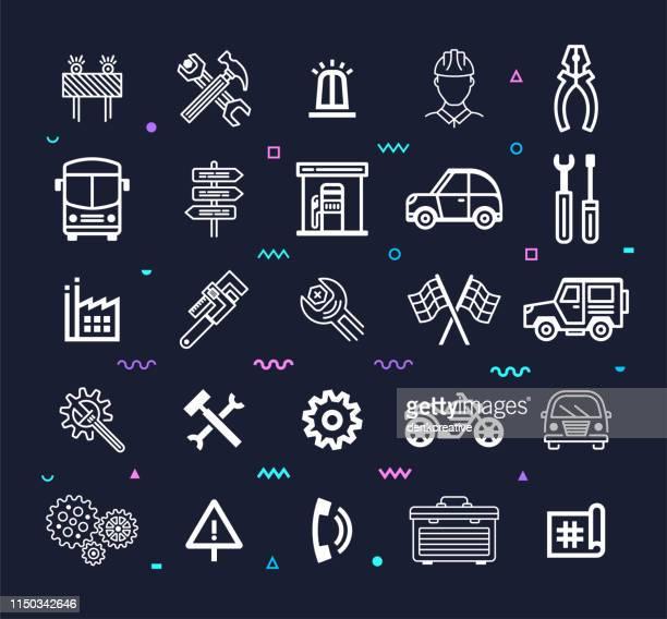 Self-Driving & Autonomous Vehicles Line Style Vector Icon Set