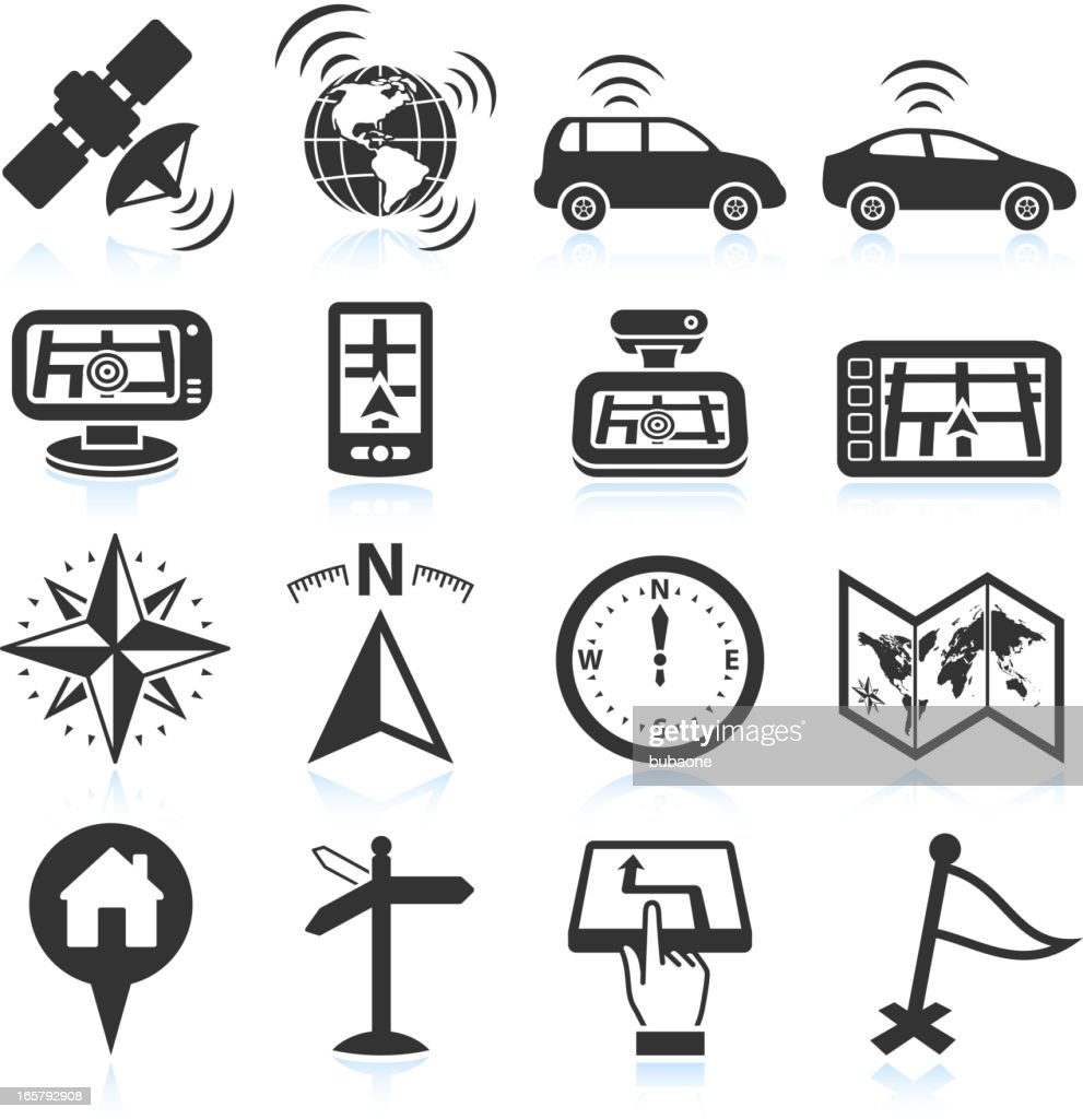 Self-driving autonomus cars travel and navigation icon set