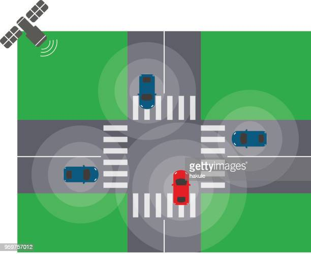Self-driving car driving on the busy street, top view