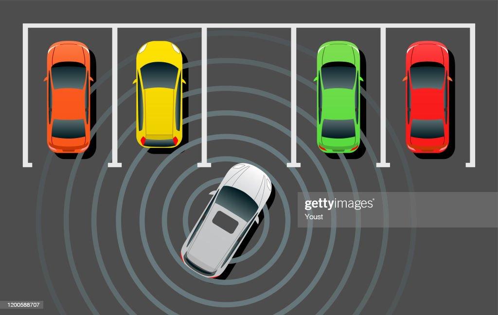 自動運転スマートカー自動車駐車場 : ストックイラストレーション