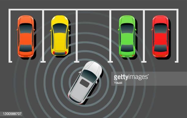 自動運転スマートカー自動車駐車場 - 境界線点のイラスト素材/クリップアート素材/マンガ素材/アイコン素材