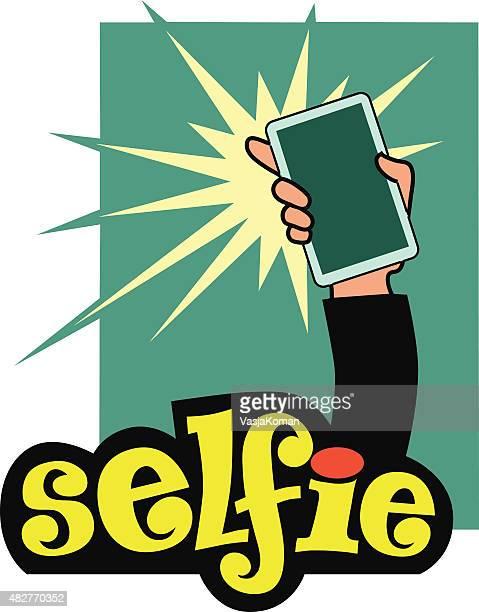 Selfie Cartoon - Hand Holding Mobile Phone Taking Photo