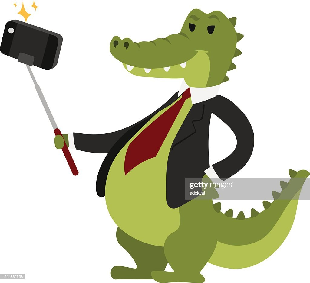 Selfie crocodile vector illustration