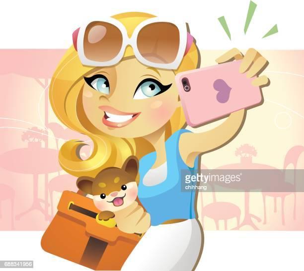 ilustraciones, imágenes clip art, dibujos animados e iconos de stock de selfie chica 1 - selfie