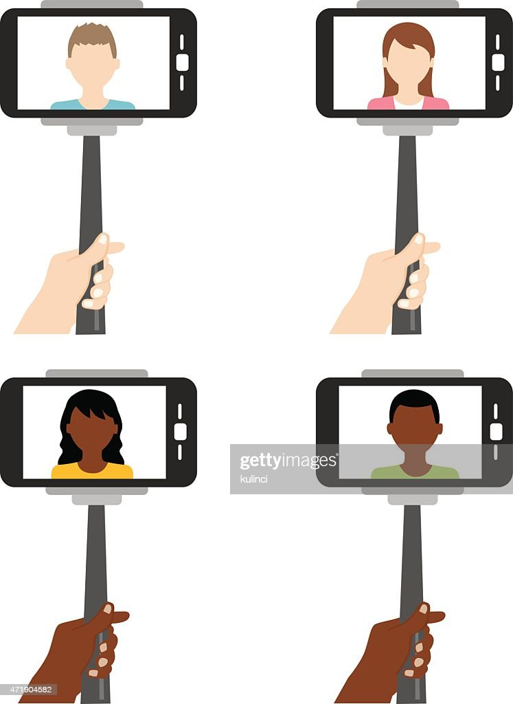 Selfie on smartphone using monopod or selfie stick