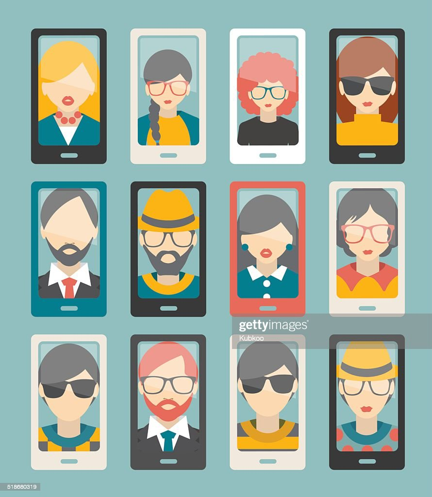 Selfie photo flat collection. Men, woman portrait. Vector.