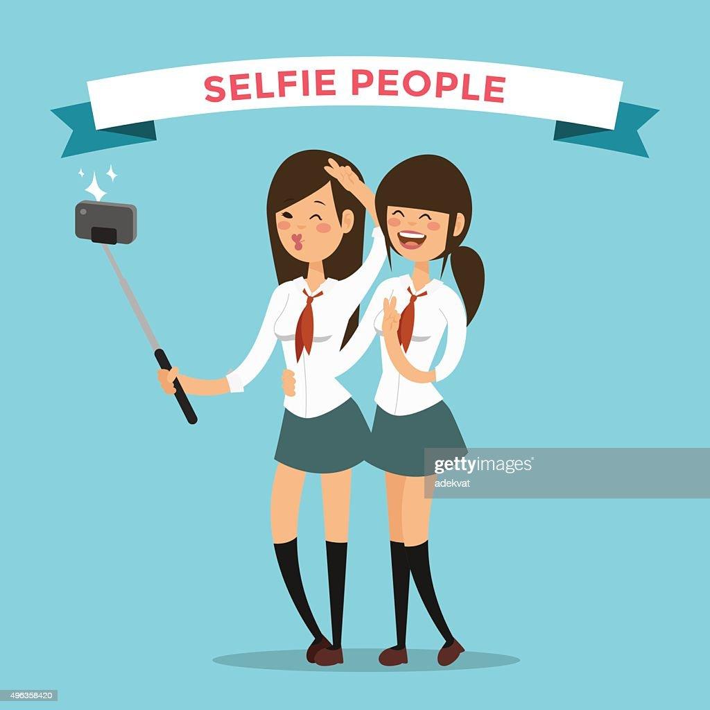 Selfie shots mans gays couple vector illustration