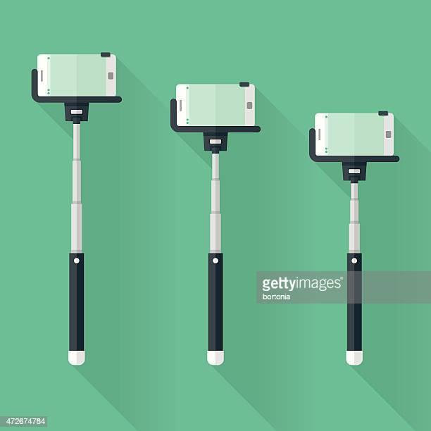 Selfie Sticks Flat Design Icon Set with Long Shadow