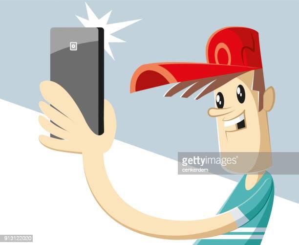 ilustrações, clipart, desenhos animados e ícones de tempo de selfie (vector) - ditados