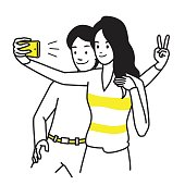 Selfie together lovers