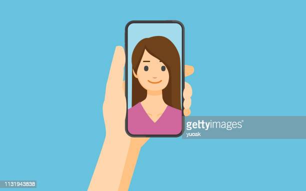 selfie - using phone stock illustrations
