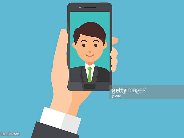 selfie - holding stock illustrations, clip art, cartoons, & icons
