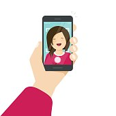 Selfie via smartphone, photo of yourself vector illustration, flat cartoon young happy girl with mobile phone in hand making self photo clipart isolated on white