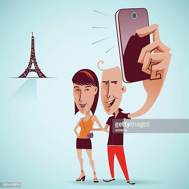 ilustraciones, imágenes clip art, dibujos animados e iconos de stock de autofoto con torre eiffel - selfie