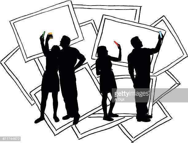 Selfies Couple Vector Silhouette