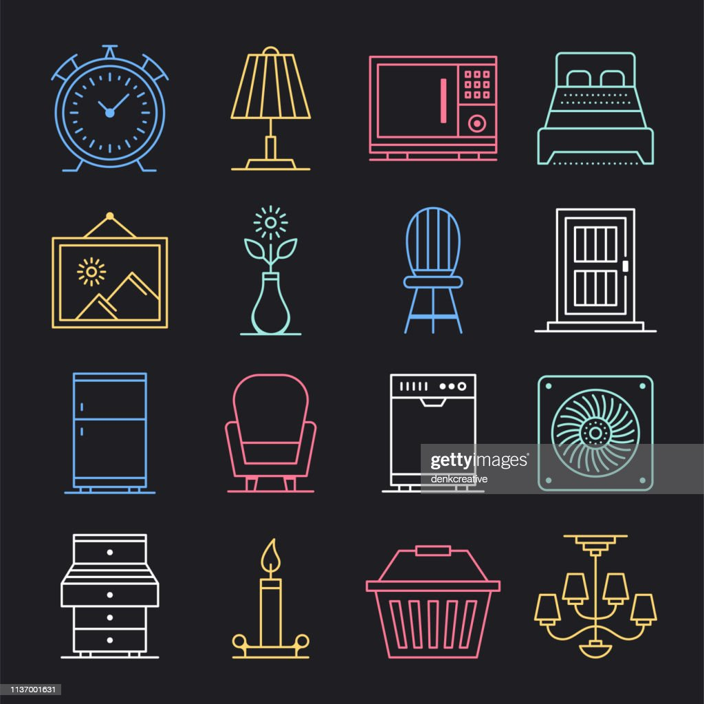 Sell & Purchase Used Products Neon Style Vector Icon Set : stock illustration