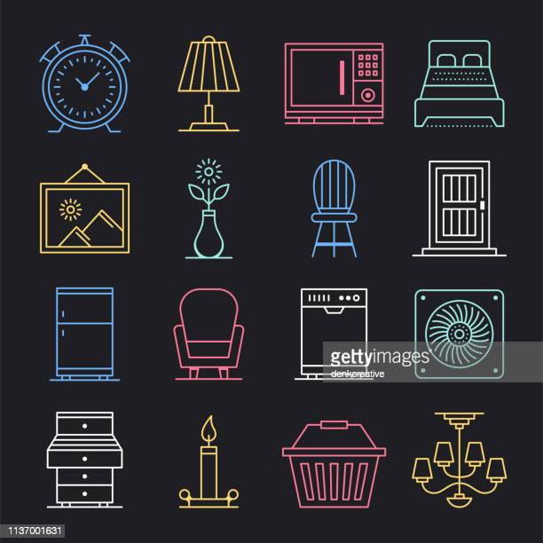 Sell & Purchase Used Products Neon Style Vector Icon Set