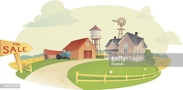 sell the farm - private property stock illustrations