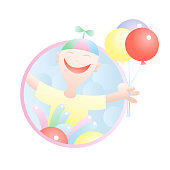 Seller of balloons vector cartoon in pastel colors