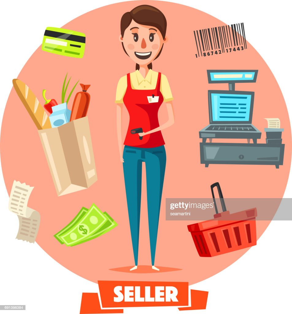 Seller woman or cashier in shop vector retail