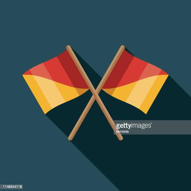 semaphore flags nautical flat design icon - semaphore stock illustrations