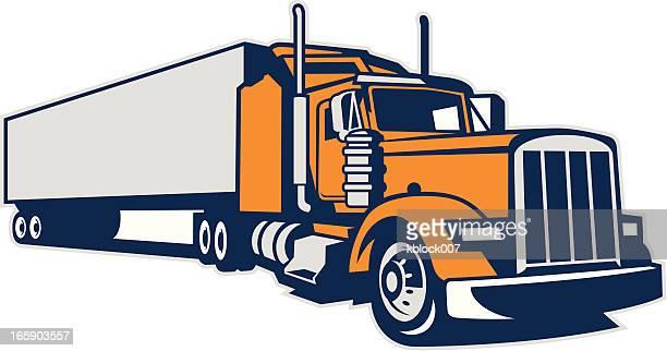 illustrations, cliparts, dessins animés et icônes de semi camion et remorque - chauffeur routier