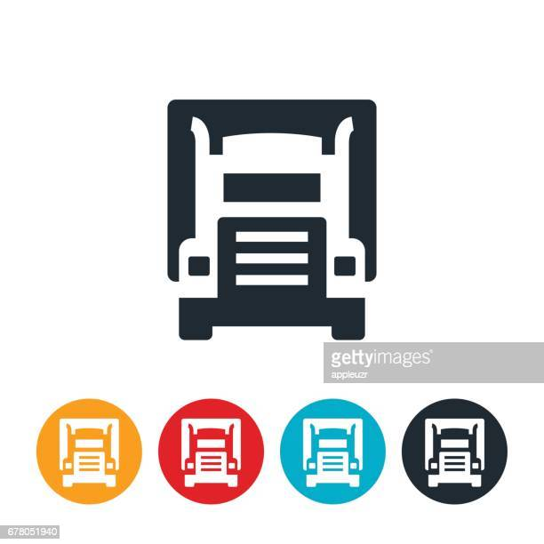 semi truck icon - front view stock illustrations