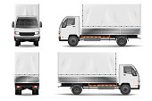 Semi truck isolated on white. Commercial realistic cargo lorry mockup. Delivery truck vector template from side, back, front View