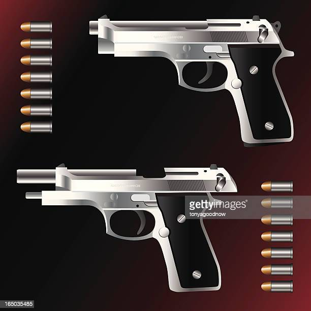 Semi-Automatic Hand Gun with Bullets