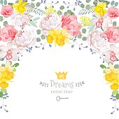 Semicircle garland frame with peony, orchid, narcissus, wild rose