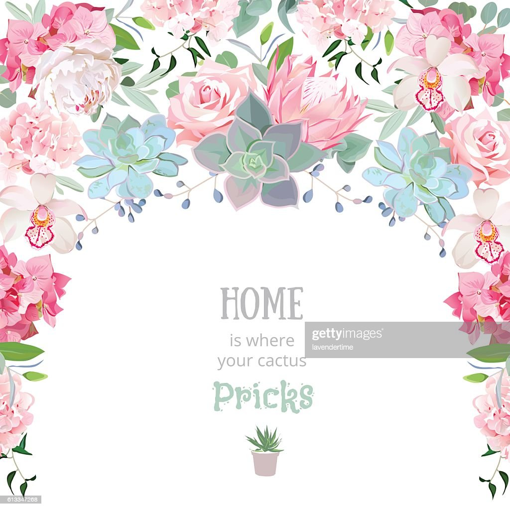 Semicircle garland frame with succulents, protea, peony, orchid, echeveria, hydrangea