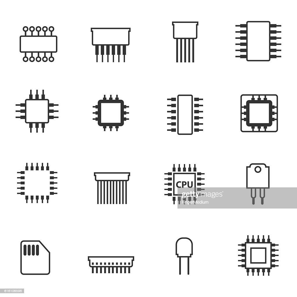 semiconductor icon set high-res vector graphic