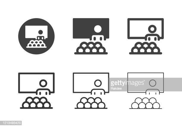 seminar icons - multi series - training grounds stock illustrations