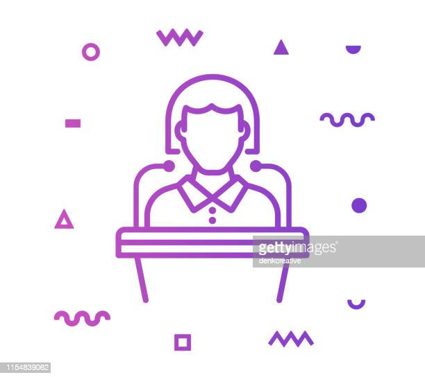 seminar line style icon design - sports round stock illustrations