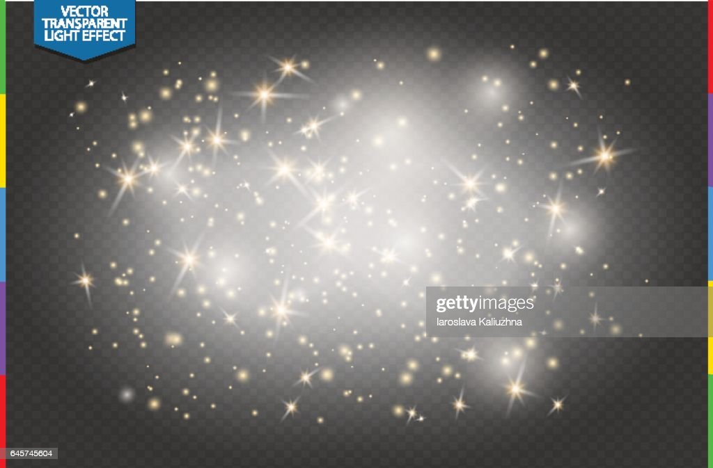 Semitransparent white sparks and golden stars glitter special light effect. Vector sparkles on transparent background. Christmas abstract pattern. Translucent sparkling magic dust particles cloud