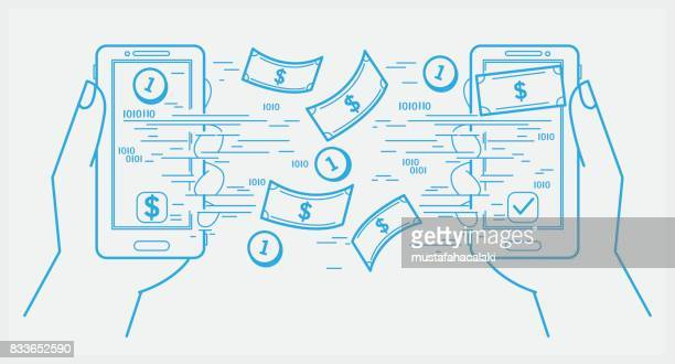sending and receiving money with smartphone - sentando stock illustrations
