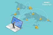 Sending money around the world isometric flat vector.