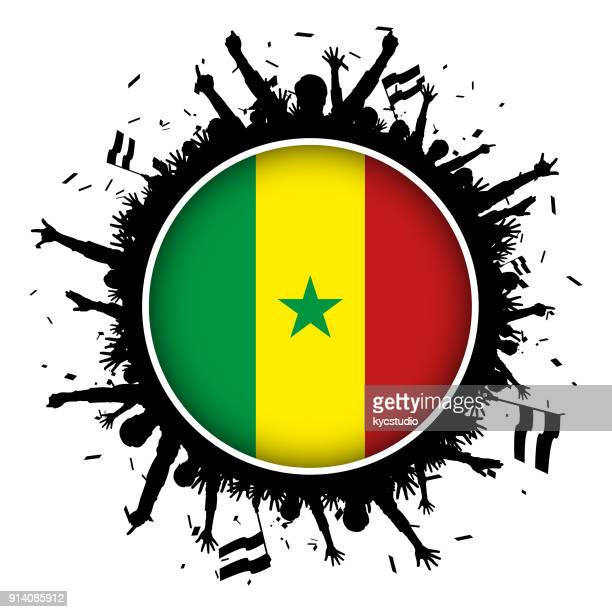 senegal button flag with soccer fans 2018 - senegal stock illustrations, clip art, cartoons, & icons