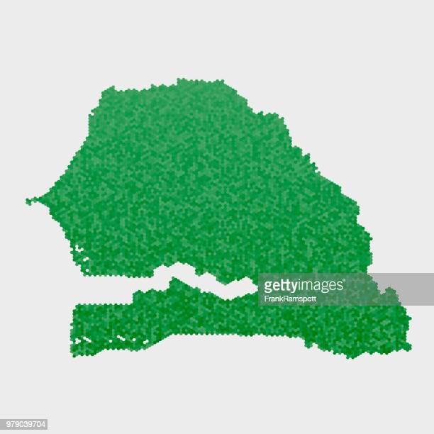 Senegal-Land-Map-grünen Sechseck-Muster